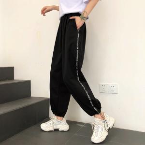 25棉 休闲阔腿运动裤子女束脚宽松显瘦高腰哈伦裤子