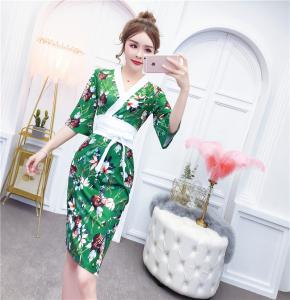 YF70324# 修身改良和服女夏季新款性感V领喇叭袖印花连衣裙