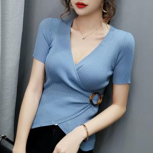 夏冰丝V领性感修身打底针织衫女短袖套头上衣T恤女
