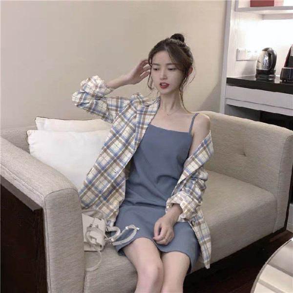 春秋新款时尚套装女学生韩版港味西装格子外套+小吊带两件套ins潮-优朵拉服饰-