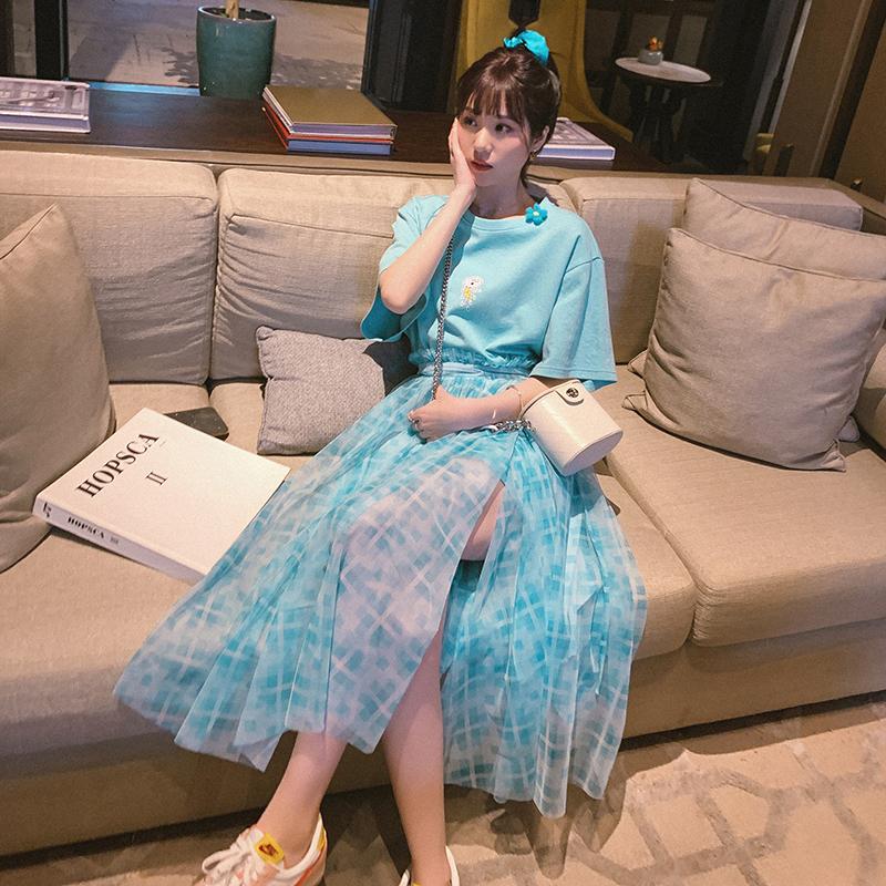 洋气减龄中长款T恤可盐可甜套装2020春季小仙女网纱裙清新两件套-悠乐衣橱-