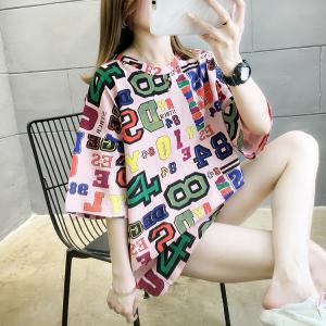 YF29278# 夏装新款韩版宽松大码女装中长款字母印花圆领短袖T恤 服装批发女装货源
