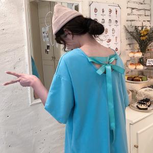宽松系带露背心机t恤女短袖小众潮流上衣