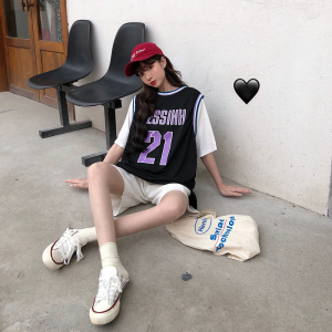 球衣背心女篮球服女bf风宽松两件套180克双磨