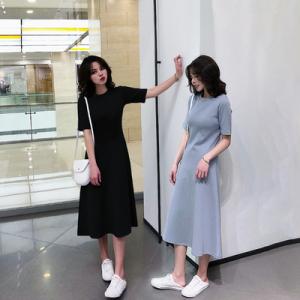 Short sleeve slim base dress w...