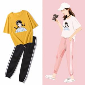运动套装女夏宽松时尚休闲两件套女学院风学生t恤女