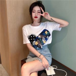 款韩版设计感拼接心机T恤女小众宽松显瘦假两件短袖上衣