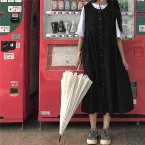 连衣裙套装女chic韩版学生裙子百搭无袖背带裙两件套