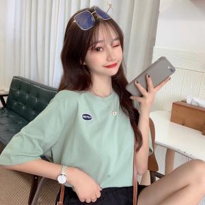 简约小清新纯色短袖t恤刺绣