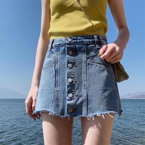 牛仔短裙女高腰chic半身裙a字包臀裙子显瘦ins潮