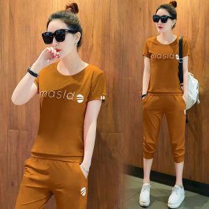 休闲运动套装女夏两件套时尚韩版印花短袖T恤七分裤