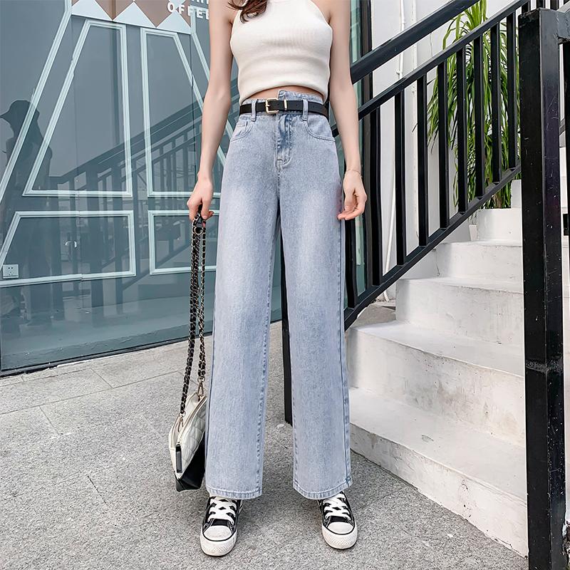实拍2020秋季新款女不规则腰直筒牛仔长裤修身显瘦时尚百搭阔腿裤