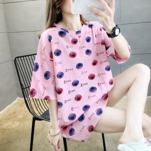 YF29279# 夏装新款韩版大码女装中长款卡通字母印花圆领短袖T恤 服装批发女装货源