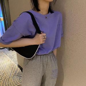 撞色休闲港风套装韩版英文刺绣香芋紫短袖T恤+灰色休闲裤套装