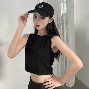 修身心机镂空露背短袖T恤女显瘦短款性感上衣