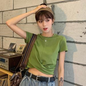 女休闲时尚圆领纯色短款宽松短袖T恤