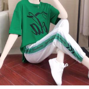 两件套运动套装女夏宽松大码港味休闲洋气长裤潮