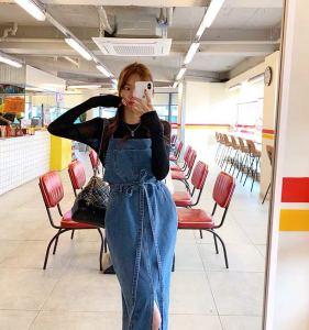 FS99982# 韩国ins网红 春夏新品水洗蓝前大开叉背带牛仔连衣裙 2色入