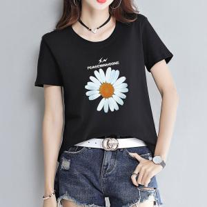 14个颜色 宽松黑白色小雏菊花短袖t恤女