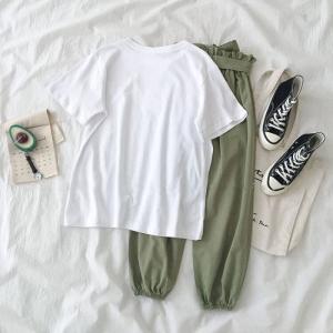 两件套装韩版短袖t恤上衣松紧腰休闲长裤子