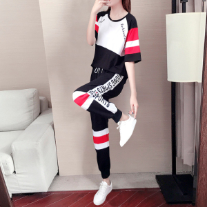 夏款休闲时尚套装女宽松韩版鬼步舞运动服套装两件套