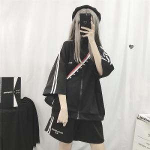 运动服休闲套装女ins潮韩版宽松学生短袖短裤两件套