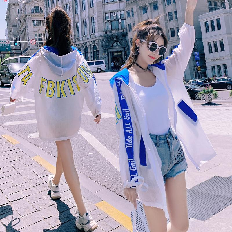 防晒衣女中长款2020夏季新款印花拼色轻薄防晒服宽松大码透气外套-佐伊家服饰-