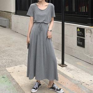 圆领短袖T恤女松紧抽绳半身裙套装黑色体恤衫时尚两件套潮