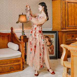 YF71328# 改良春夏气质显瘦碎花仙女刺绣网纱吊带连衣长裙