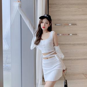 YF34569# 夏季时尚套装新款女交叉绑带背心短裙开衫针织外套三件套 服装批发女装直播货源