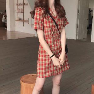 韩版格子西装小个子连衣裙女夏收腰显瘦气质高腰a字裙子