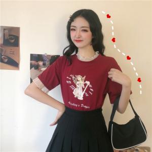 日韩休闲拼接网纱假两件上衣宽松短袖T恤女