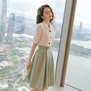 YF34211# 时尚裙子套装夏新短袖雪纺上衣半身裙洋气减龄两件套连衣裙 服装批发女装直播货源