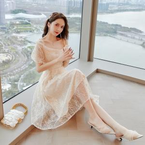 YF34206# 夏季新款流行裙子气质仙女重工蕾丝吊带裙一字肩露肩连衣裙 服装批发女装直播货源