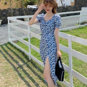 大码甜美小雏菊碎花短袖V领蓝色收腰显瘦a字高腰女长裙子