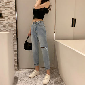 YF20298# 秋季新款女高腰修身显瘦阔腿牛仔裤时尚米奇图案破洞长裤
