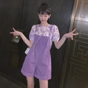 紫色背带裤女春百搭显瘦减龄休闲阔腿吊带短裤子韩版