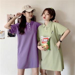 日系Polo衫裙子女短袖t恤宽松ins刺绣上衣