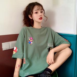 超火短袖t恤女宽松原宿风卡通童趣上衣