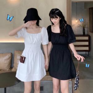 韩版闺蜜装收腰显瘦桔梗裙小个子方领短袖连衣裙