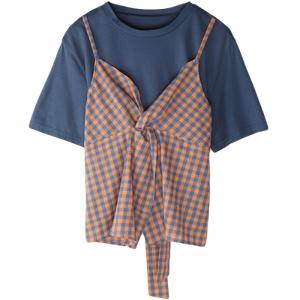 宽松短袖格子拼接吊带假两件绑带设计感上衣
