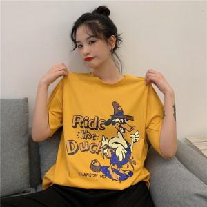 宽松卡通印花短袖T恤女上衣
