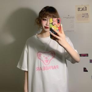 简约短袖T恤女学生圆领印花上衣