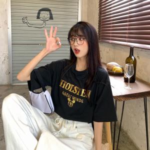 宽松重工刺绣亮片洋气短袖T恤女