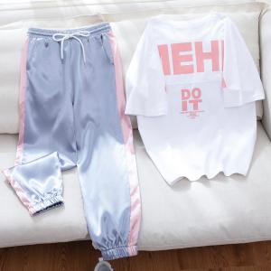 休闲运动套装女学生九分裤宽松嘻哈洋气两件套潮
