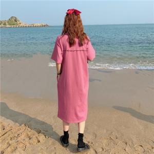 口袋短袖T恤裙女中长款过膝包臀刺绣字母连衣裙