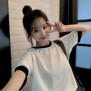 Short sleeve T-shirt women's loose students' all-around bottoming and color blocking top