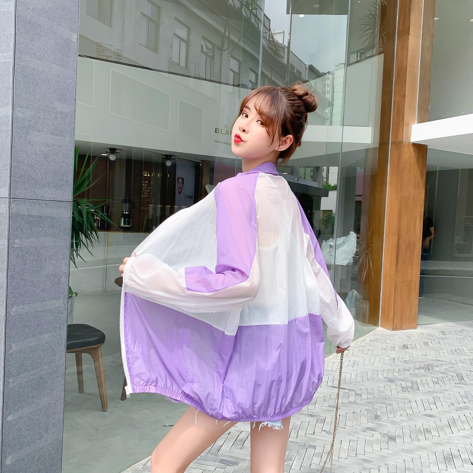 防晒衣女2020新款夏防紫外线透气冰丝防晒衫紫色长袖防晒服薄外套-佐伊家服饰-