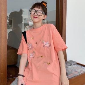 学院风刺绣天马珠片短袖T恤女宽松上衣