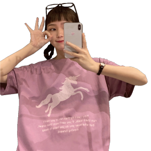 College printed cartoon Pegasus Unicorn short sleeve T-shirt for women